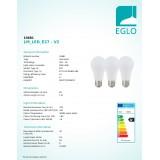 EGLO 10681 | E27 7,5W -> 40W Eglo obični A60 LED izvori svjetlosti RGB-WW 470lm 3000K jačina svjetlosti se može podešavati, promjenjive boje, trodijelni set daljinski upravljač CRI>80