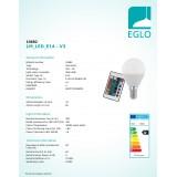 EGLO 10682   E14 4W -> 28W Eglo mala kugla P45 LED izvori svjetlosti RGB-WW 300lm 3000K jačina svjetlosti se može podešavati, promjenjive boje daljinski upravljač CRI>80