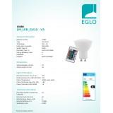 EGLO 10686 | GU10 4W -> 22W Eglo spot LED izvori svjetlosti RGB-WW 220lm 3000K jačina svjetlosti se može podešavati, promjenjive boje daljinski upravljač CRI>80