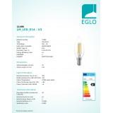 EGLO 11496   E14 4W -> 30W Eglo oblik svijeće C35 LED izvori svjetlosti filament 350lm 2700K 360° CRI>80