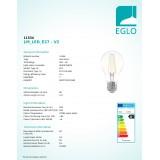 EGLO 11534   E27 6,5W -> 63W Eglo obični A60 LED izvori svjetlosti filament 810lm 2700K 360° CRI>80