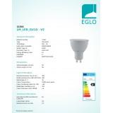 EGLO 11541 | GU10 5W -> 65W Eglo spot LED izvori svjetlosti Step Dim. 400lm 3000K jačina svjetlosti se može podešavati s impulsnim prekidačem 30° CRI>80