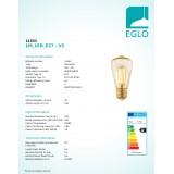 EGLO 11553 | E27 3,5W -> 22W Eglo Edison ST48 LED izvori svjetlosti filament 220lm 2200K 360° CRI>80