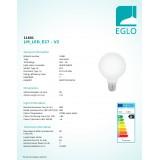 EGLO 11601 | E27 8W -> 60W Eglo velika kugla G95 LED izvori svjetlosti filament, milky 806lm 2700K 360° CRI>80