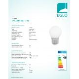 EGLO 11605   E27 4W -> 40W Eglo mala kugla G45 LED izvori svjetlosti filament, milky 470lm 2700K 360° CRI>80