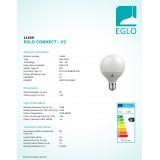 EGLO 11659 | E27 13W -> 100W Eglo velika kugla G95 LED izvori svjetlosti smart rasvjeta 1300lm 2700 <-> 6500K jačina svjetlosti se može podešavati, sa podešavanjem temperature boje, promjenjive boje CRI>80