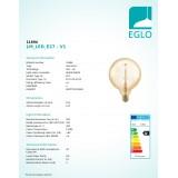 EGLO 11694   E27 4W -> 30W Eglo velika kugla G125 LED izvori svjetlosti filament, golden age 320lm 1700K jačina svjetlosti se može podešavati 360° CRI>80