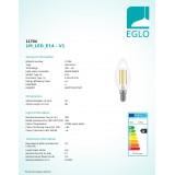 EGLO 11704 | E14 3,5W -> 32W Eglo oblik svijeće C35 LED izvori svjetlosti filament 350lm 2700K jačina svjetlosti se može podešavati 360° CRI>80