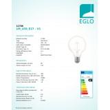 EGLO 11706 | E27 4W -> 32W Eglo velika kugla G80 LED izvori svjetlosti filament, northern lights 390lm 2200K jačina svjetlosti se može podešavati 360° CRI>80