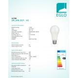 EGLO 11709   E27 10W -> 60W Eglo obični A60 LED izvori svjetlosti Relax & Work 806lm 2700 - 4000K jačina svjetlosti se može podešavati, sa podešavanjem temperature boje s impulsnim prekidačem 230° CRI>80
