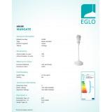 EGLO 49195 | Margate Eglo stolna svjetiljka 35,5cm s prekidačem 1x E27 bijelo