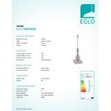 EGLO 49298 | Vintage-1+1 Eglo stolna svjetiljka - bez sjenila 41,5cm sa prekidačem na kablu 1x E14 taupe antik
