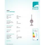 EGLO 49321 | Vintage-1+1 Eglo stolna svjetiljka - bez sjenila 33,5cm sa prekidačem na kablu 1x E14 taupe antik
