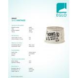 EGLO 49442 | Vintage-1+1 Eglo sjenilo sijenilo E14 / E27 drap, sivo