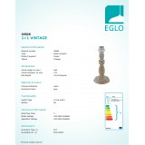 EGLO 49826 | Vintage-1+1 Eglo stolna svjetiljka - bez sjenila 26,5cm s prekidačem 1x E27 siva antik