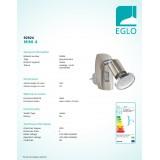 EGLO 92924 | Mini-4 Eglo utična svjetiljka svjetiljka s prekidačem 1x GU10 240lm 3000K poniklano mat, krom