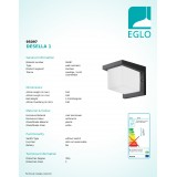 EGLO 95097 | Desella1 Eglo zidna svjetiljka četvrtast 1x LED 900lm 3000K IP54 antracit, bijelo