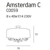 MAXLIGHT C0059 | Amsterdam Maxlight stropne svjetiljke svjetiljka 8x E14 krom, bijelo, prozirno