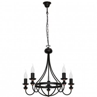 ALDEX 824F1 | Apis Aldex luster svjetiljka 5x E14 crno, crveni bakar