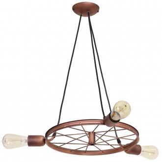 ALDEX 834E/K | Bang-Min Aldex visilice svjetiljka 3x E27 antik crveni bakar, crno