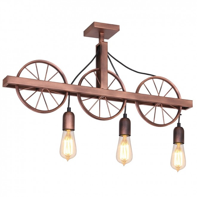 ALDEX 834E | Bang-Min Aldex stropne svjetiljke svjetiljka 3x E27 antik crveni bakar, crno