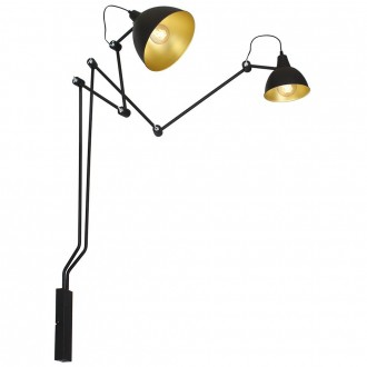ALDEX 843D | Aida-Bibi Aldex zidna svjetiljka elementi koji se mogu okretati 2x E27 crno, zlatno