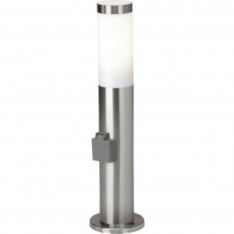 BRILLIANT 43693/82 | Chorus Brilliant podna svjetiljka 46cm utična svjetiljka 1x E27 IP44 plemeniti čelik, čelik sivo, bijelo