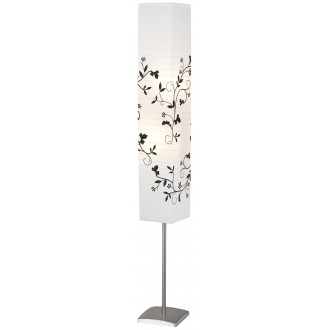 BRILLIANT 92603/81 | Nerva Brilliant podna svjetiljka 145cm sa nožnim prekidačem 2x E14 satenski nikal, bijelo, crno