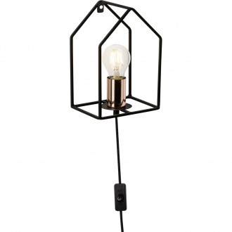 BRILLIANT 93693/29 | HomeB Brilliant zidna svjetiljka sa prekidačem na kablu 1x E27 crno, crveni bakar