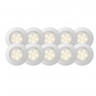 BRILLIANT G03094/75 | Cosa45 Brilliant ugradbena svjetiljka set od 10 komada Ø45mm 45x45mm 10x LED 45lm 2700K IP44 plemeniti čelik, čelik sivo, topla bijela