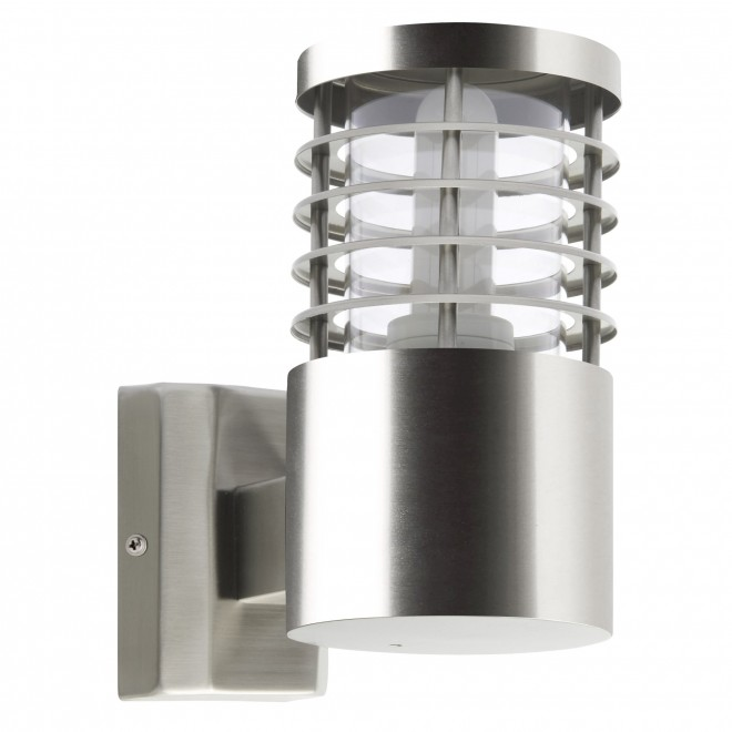 BRILLIANT G43281/82 | Finnigan Brilliant zidna svjetiljka cilindar 1x E27 IP44 plemeniti čelik, čelik sivo