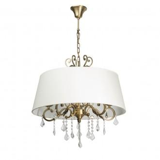 CHIARO 355011905 | Sofia-MW Chiaro visilice svjetiljka 5x E14 3225lm mesing, bijelo, prozirno