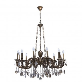 CHIARO 491010712 | Gabriel-MW Chiaro luster svjetiljka 12x E14 7740lm antik bakar, bronca topaz