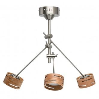 DE MARKT 725010103 | Chill-out De Markt stropne svjetiljke svjetiljka jačina svjetlosti se može podešavati, elementi koji se mogu okretati 3x LED 1500lm 3000K satenski nikal, drvo, opal