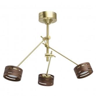 DE MARKT 725010203 | Chill-out De Markt stropne svjetiljke svjetiljka jačina svjetlosti se može podešavati, elementi koji se mogu okretati 3x LED 1500lm 3000K zlato mat, drvo, opal