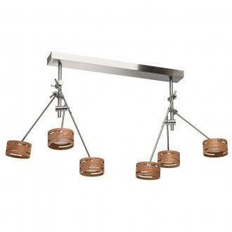 DE MARKT 725010306 | Chill-out De Markt stropne svjetiljke svjetiljka elementi koji se mogu okretati 6x LED 3000lm 3000K satenski nikal, drvo, opal