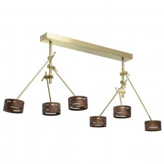 DE MARKT 725010406 | Chill-out De Markt stropne svjetiljke svjetiljka elementi koji se mogu okretati 6x LED 3000lm 3000K zlato mat, drvo, opal