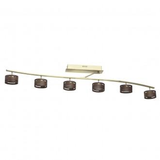 DE MARKT 725011006 | Chill-out De Markt stropne svjetiljke svjetiljka jačina svjetlosti se može podešavati 6x LED 3000lm 3000K zlato mat, drvo, opal
