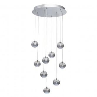 DE MARKT 730010209 | Coppelia De Markt visilice svjetiljka daljinski upravljač jačina svjetlosti se može podešavati 9x LED 4860lm 3000K aluminij, acidni, prozirno