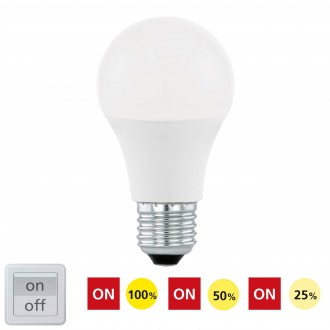 EGLO 11561 | E27 10W -> 60W Eglo obični A60 LED izvori svjetlosti Step Dim. 806lm 3000K jačina svjetlosti se može podešavati s impulsnim prekidačem 200° CRI>80