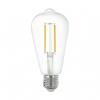 EGLO 11862 | E27 6W -> 60W Eglo Edison ST64 LED izvori svjetlosti filament smart rasvjeta 806lm 2700K jačina svjetlosti se može podešavati, može se upravljati daljinskim upravljačem CRI>80