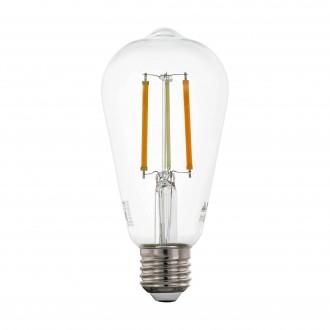 EGLO 12577 | E27 6W -> 60W Eglo Edison ST64 LED izvori svjetlosti CCT filament smart rasvjeta 806lm 2200 <-> 6500K jačina svjetlosti se može podešavati, sa podešavanjem temperature boje, može se upravljati daljinskim upravljačem CRI>80