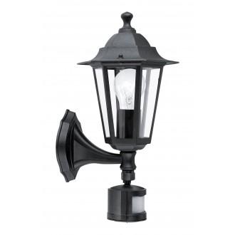 EGLO 22469 | Laterna8 Eglo zidna svjetiljka sa senzorom 1x E27 IP44 crno, prozirno