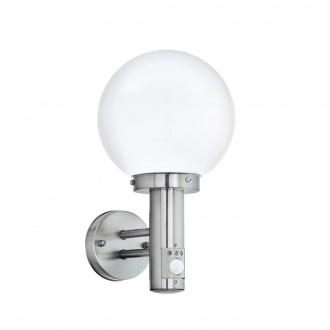 EGLO 27126 | Nisia Eglo zidna svjetiljka sa senzorom 1x E27 IP44 plemeniti čelik, čelik sivo, bijelo
