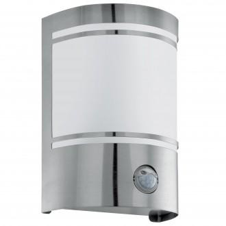 EGLO 30192 | Cerno Eglo zidna svjetiljka sa senzorom 1x E27 IP44 plemeniti čelik, čelik sivo, bijelo