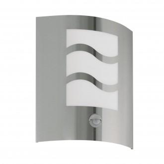 EGLO 30194 | City2 Eglo zidna svjetiljka sa senzorom 1x E27 IP33 plemeniti čelik, čelik sivo, bijelo