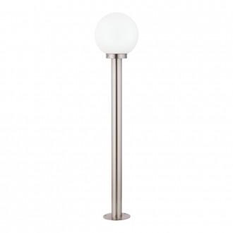EGLO 30207 | Nisia Eglo podna svjetiljka 100cm 1x E27 IP44 plemeniti čelik, čelik sivo, bijelo