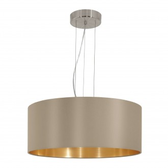 EGLO 31607 | Eglo-Maserlo-T Eglo visilice svjetiljka 3x E27 taupe, zlatno, poniklano mat