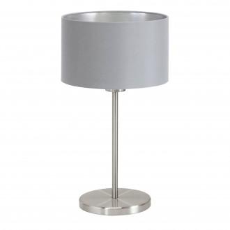 EGLO 31628 | Eglo-Maserlo-G Eglo stolna svjetiljka 42cm sa prekidačem na kablu 1x E27 sivo, srebrno, poniklano mat