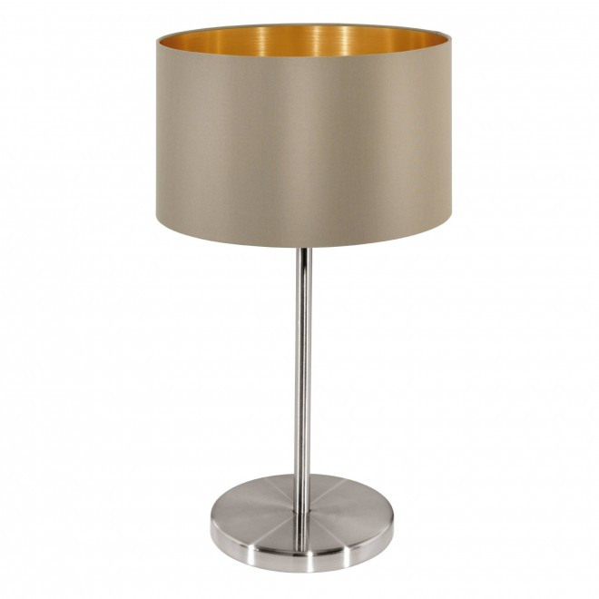 EGLO 31629 | Eglo-Maserlo-T Eglo stolna svjetiljka 42cm sa prekidačem na kablu 1x E27 taupe, zlatno, poniklano mat